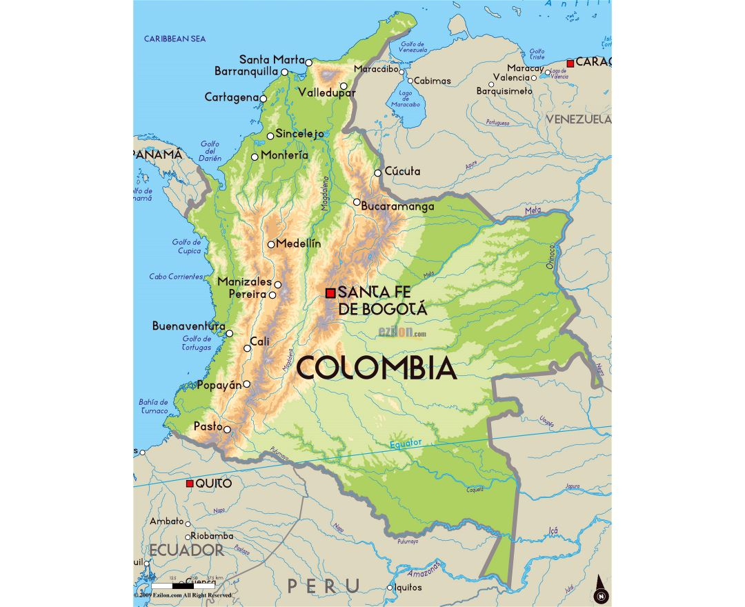 Maps Of Colombia Detailed Map Of Colombia In English Tourist - Physical of map venezuela