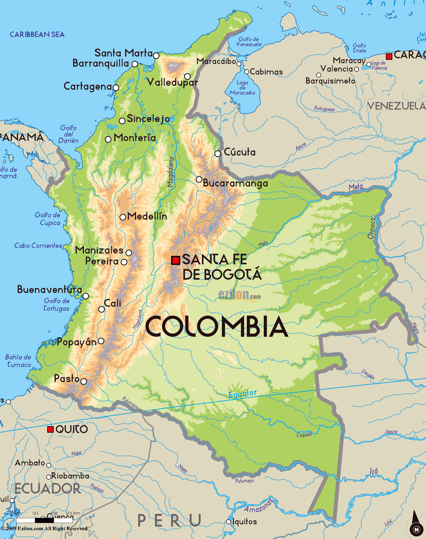Physical Map Of Columbia Ezilon Maps Colombia Physical Map I Love - South america map physical