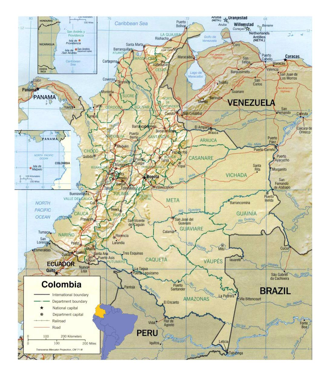 Detailed political and administrative map of Colombia with relief, roads and cities