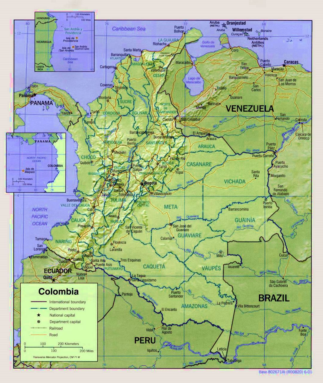 Detailed political and administrative map of Colombia with relief, roads and major cities - 2001