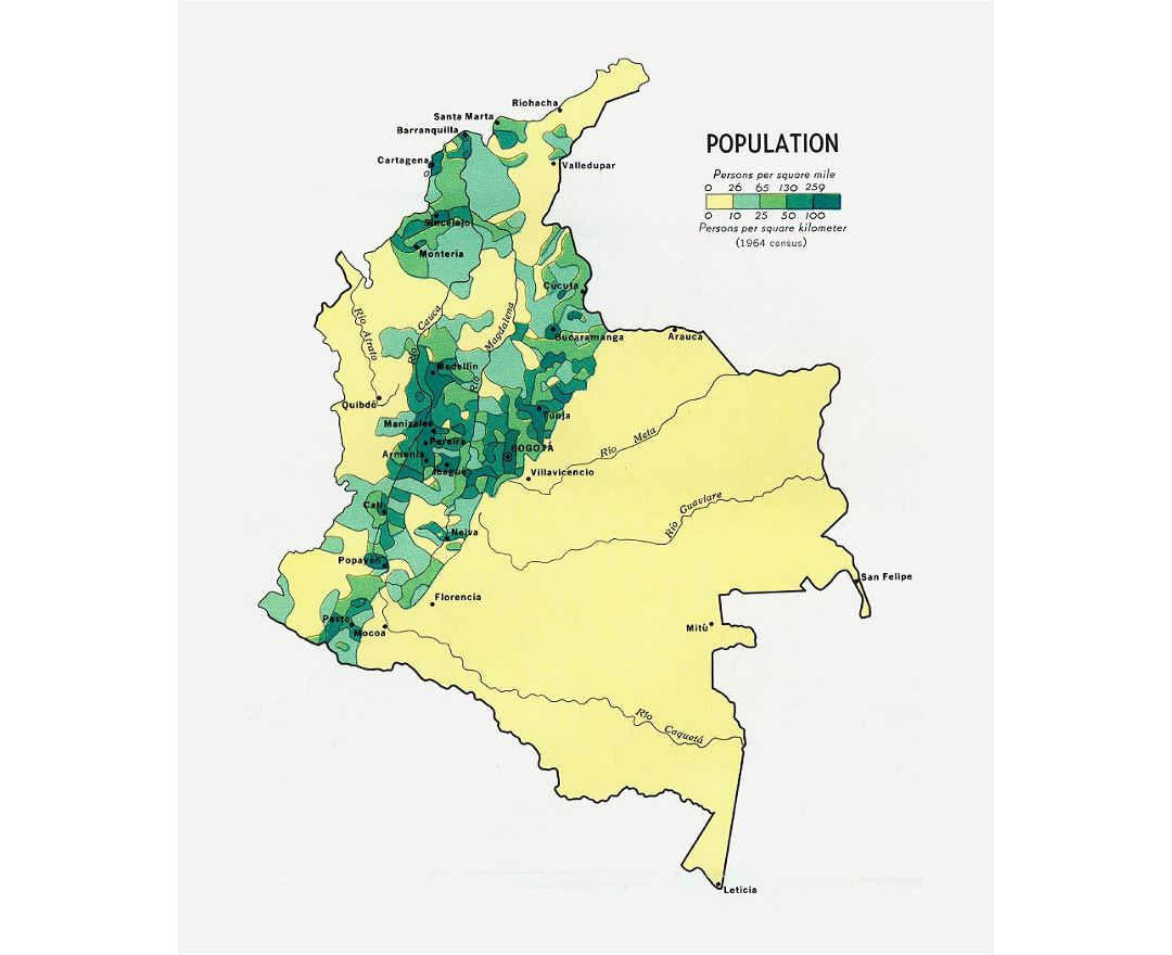 Detailed population map of Colombia - 1970
