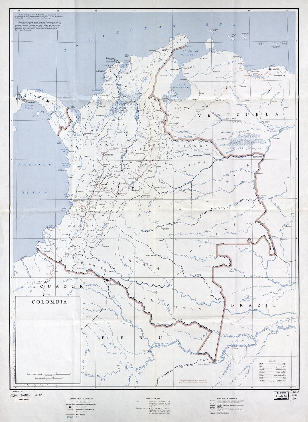 In high resolution detailed political and administrative map of Colombia with marks of cities, roads and railroads - 1952