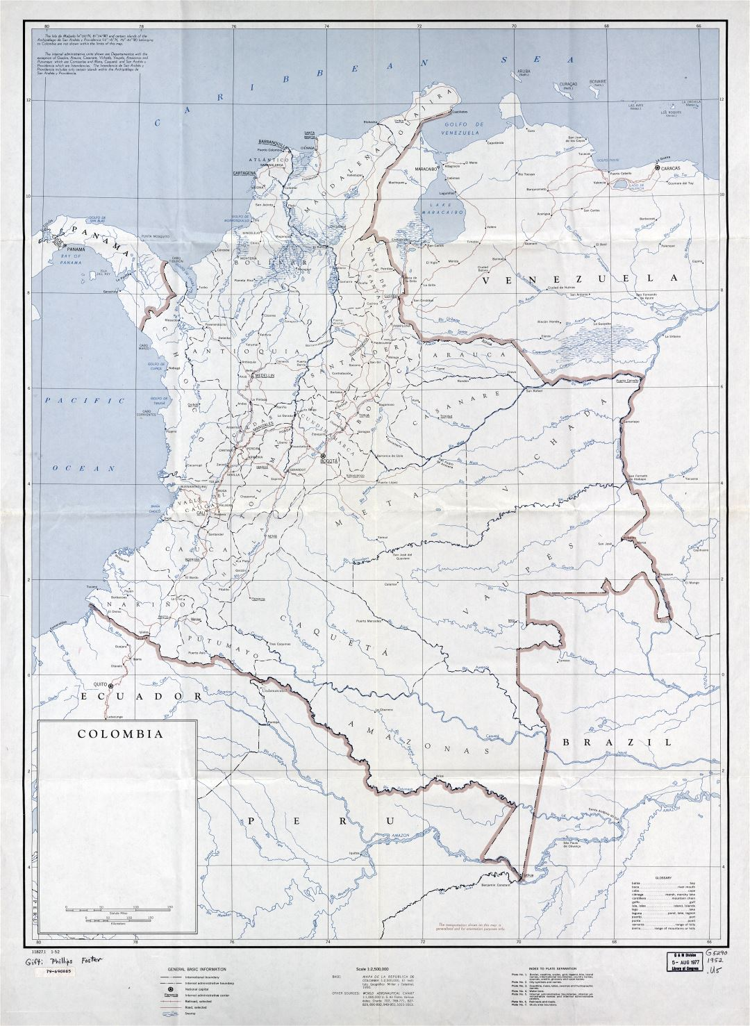 Large detailed political and administrative map of Colombia with marks of cities, roads and railroads - 1952