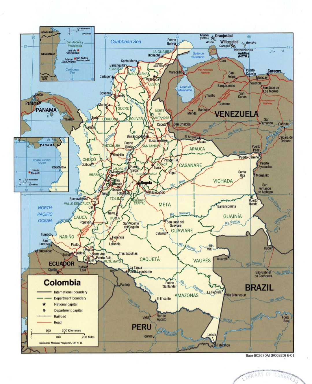 Large detailed political and administrative map of Colombia with marks of cities roads and railroads - 2001