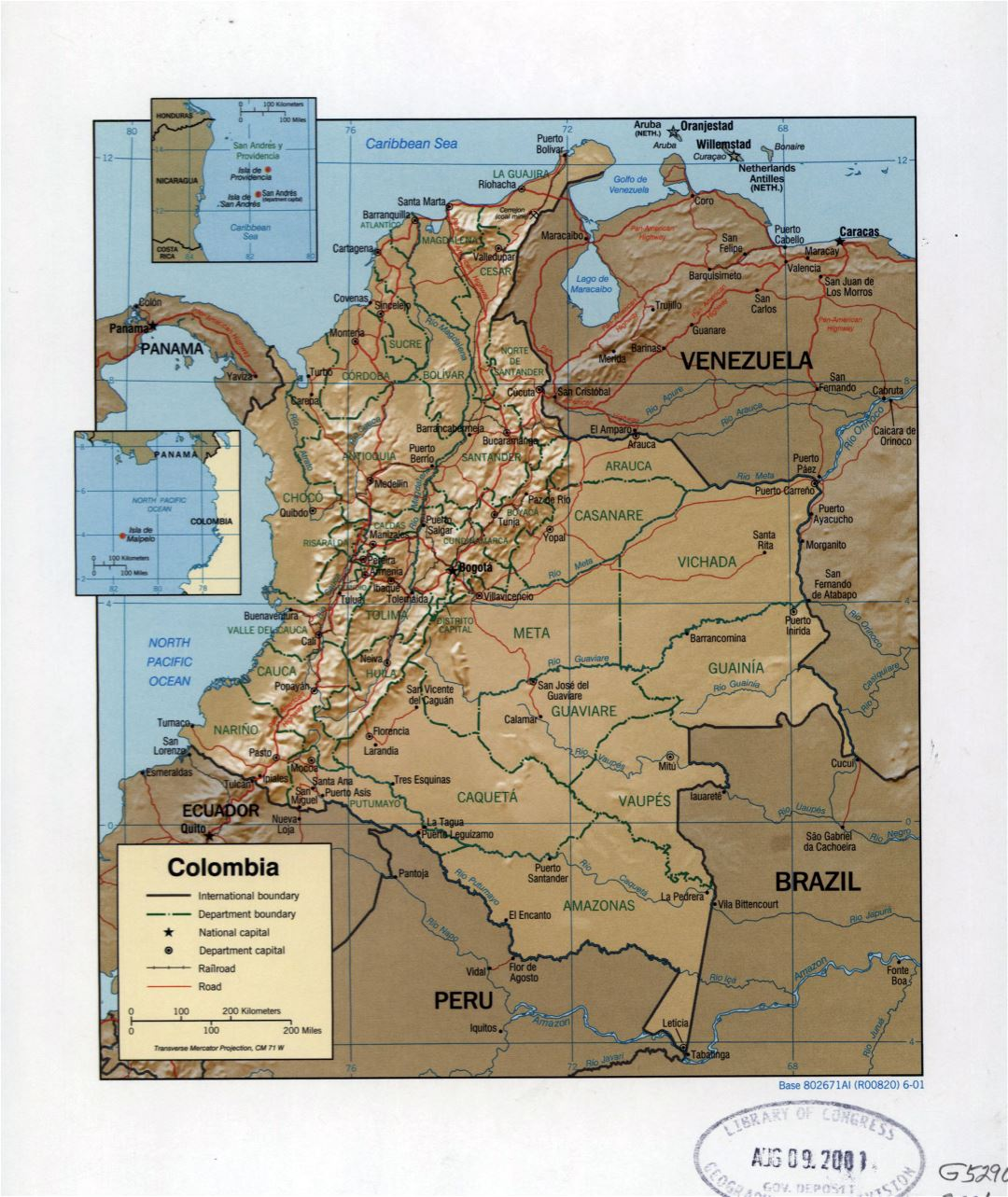 Large detailed political and administrative map of Colombia with relief, marks of cities, roads and railroads - 2001