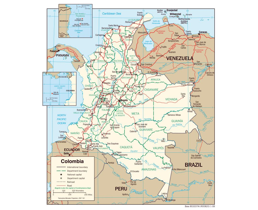 Large detailed political and administrative map of Colombia with roads and major cities - 2008