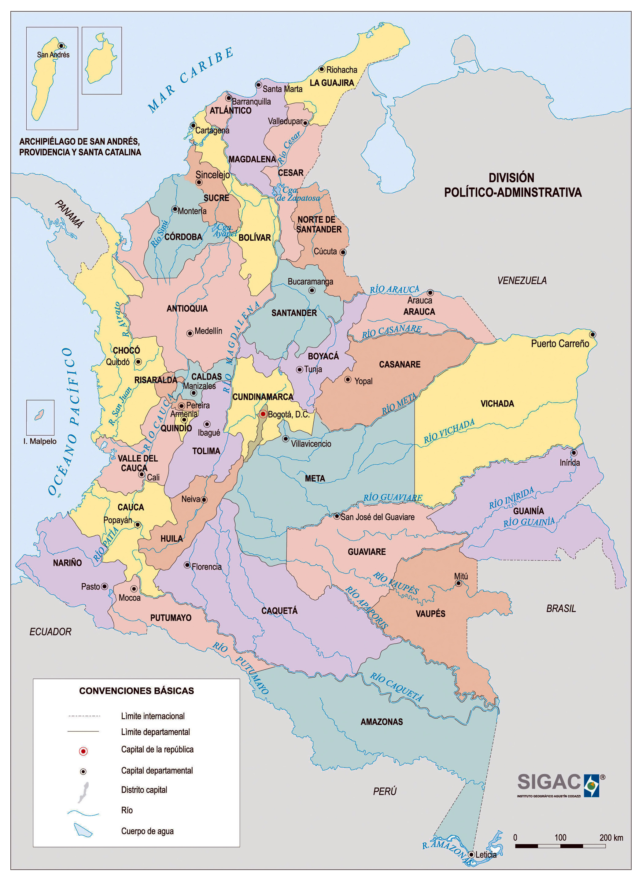 Large detailed political and administrative map of Colombia