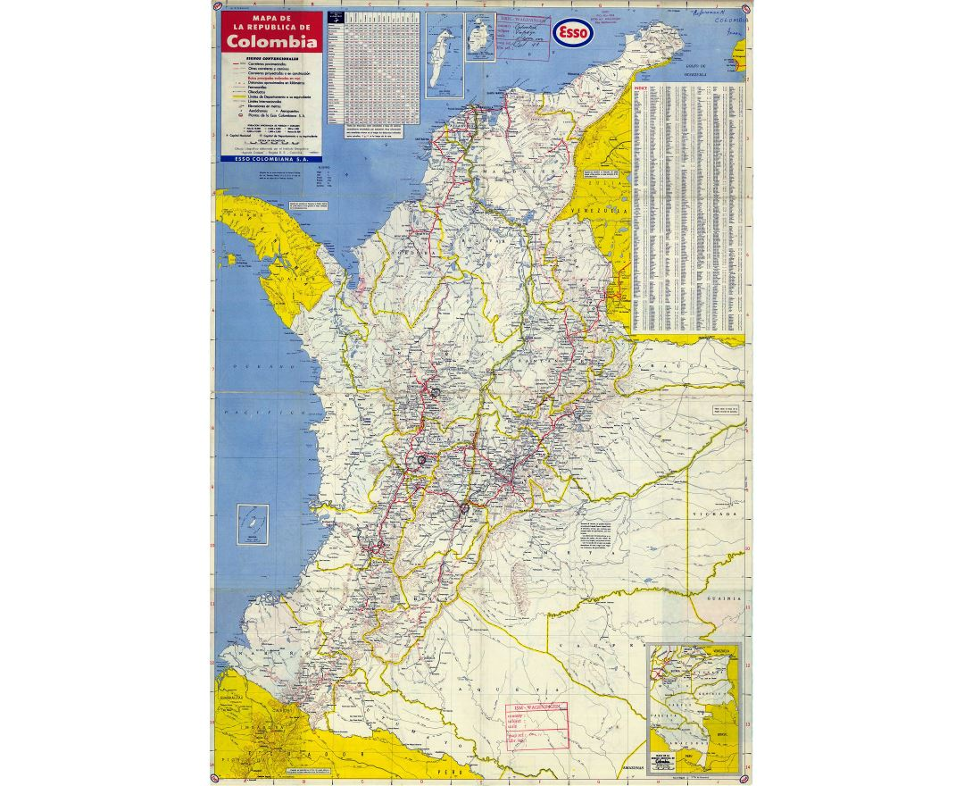 Large detailed road map of Colombia with all cities and airports