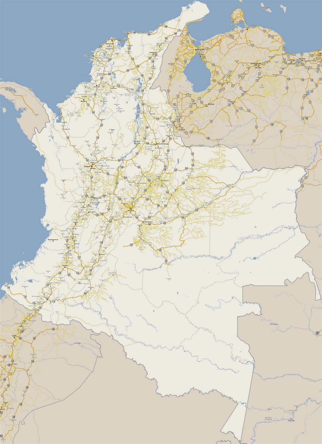 Large detailed road map of Colombia with cities