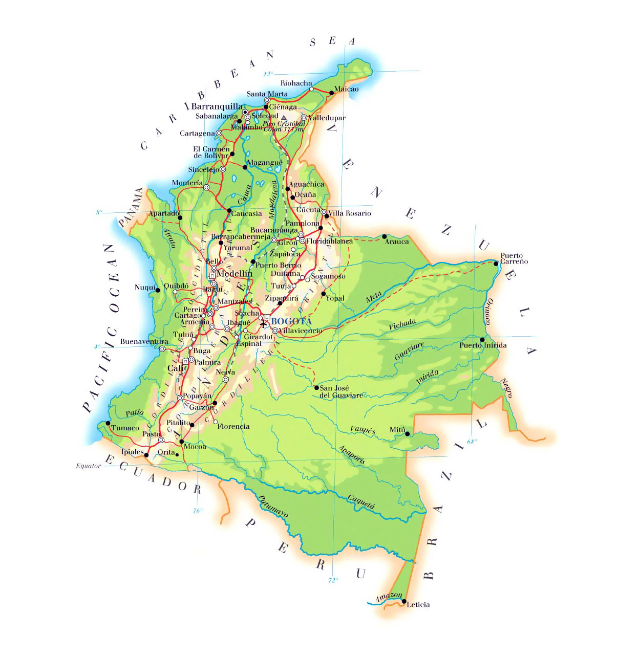 Large elevation map of Colombia with roads, cities and airports