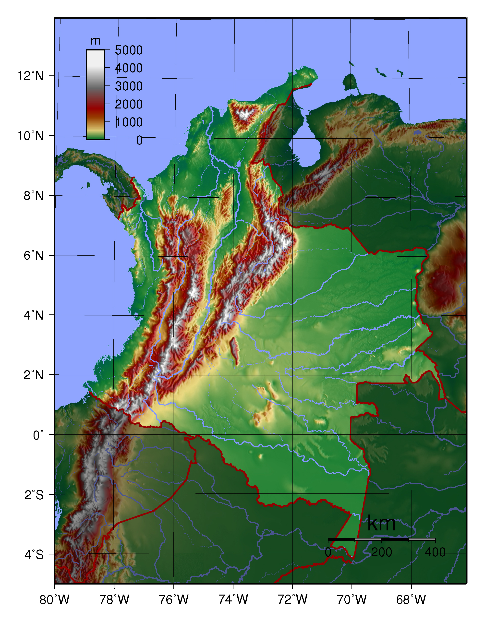 Large Physical Map Of Colombia Colombia South America - Physical map of colombia