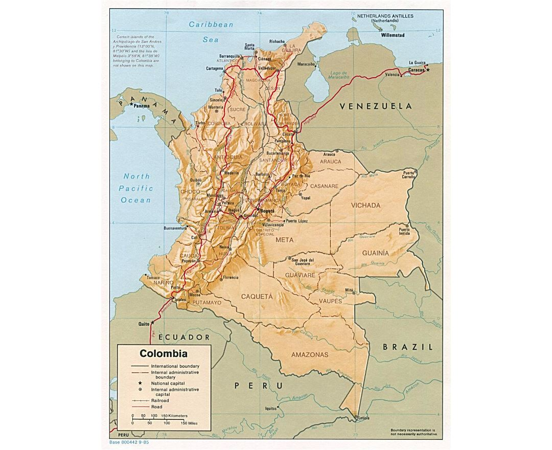 Large political and administrative map of Colombia with relief, roads and major cities - 1985