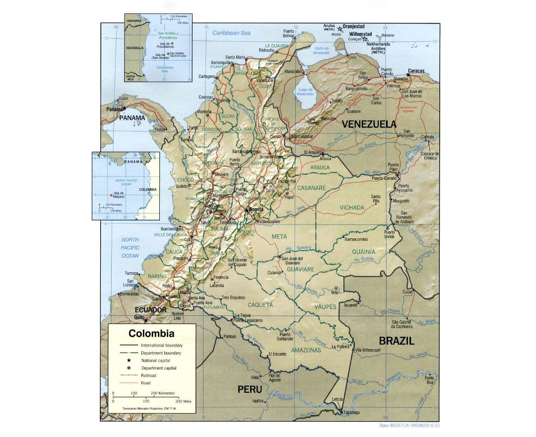 Large political and administrative map of Colombia with relief, roads and major cities - 2001