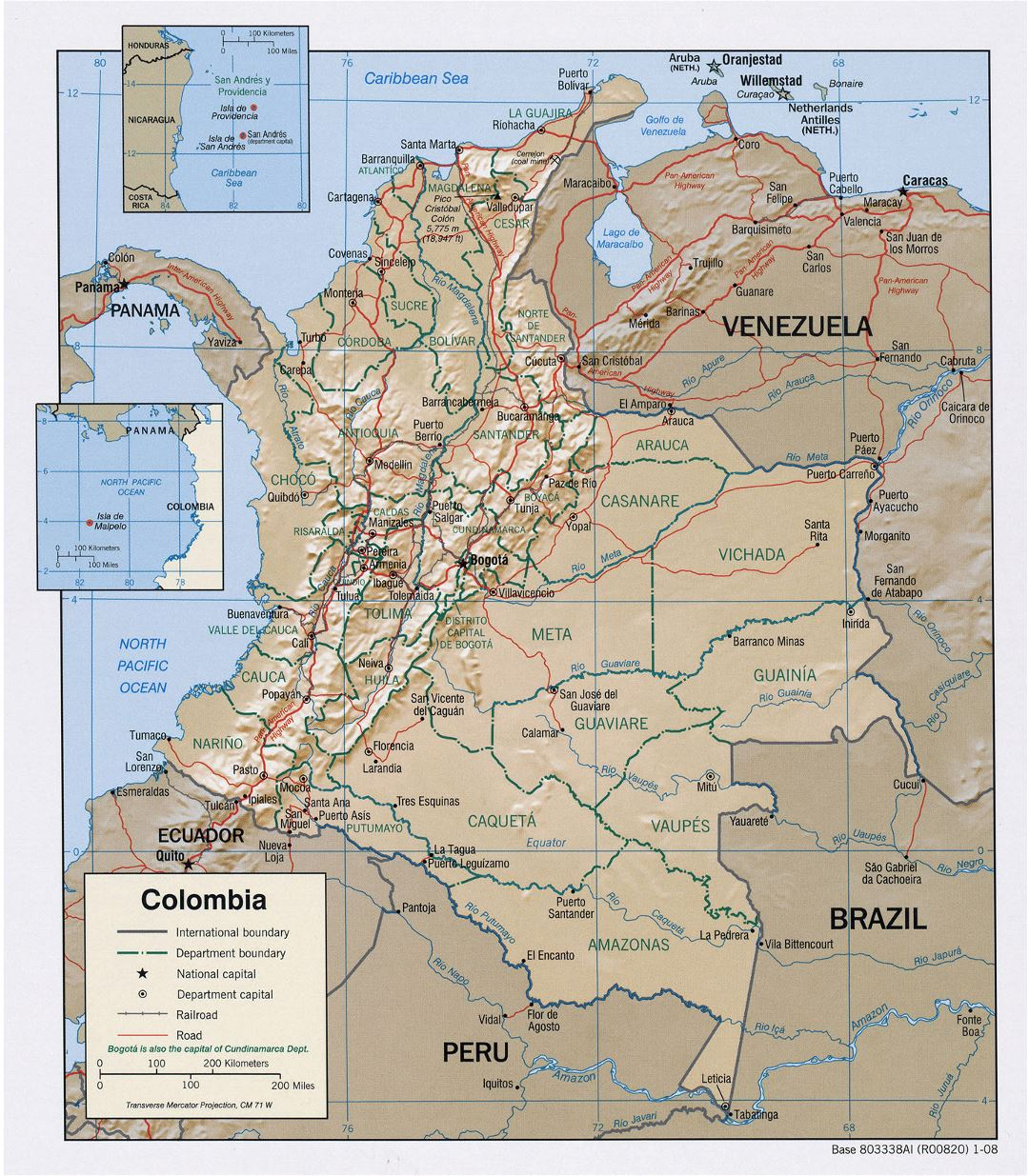 Large political and administrative map of Colombia with relief, roads and major cities - 2008