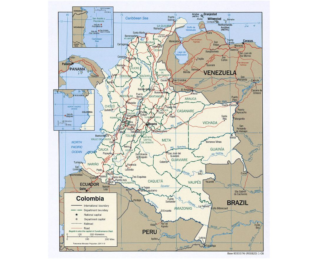 Large political and administrative map of Colombia with roads and major cities - 2008