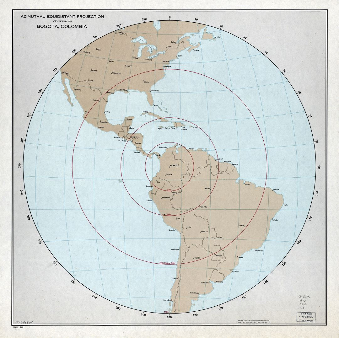 Large scale detailed map of azimuthal equidistant projection centered on Bogota, Colombia - 1966