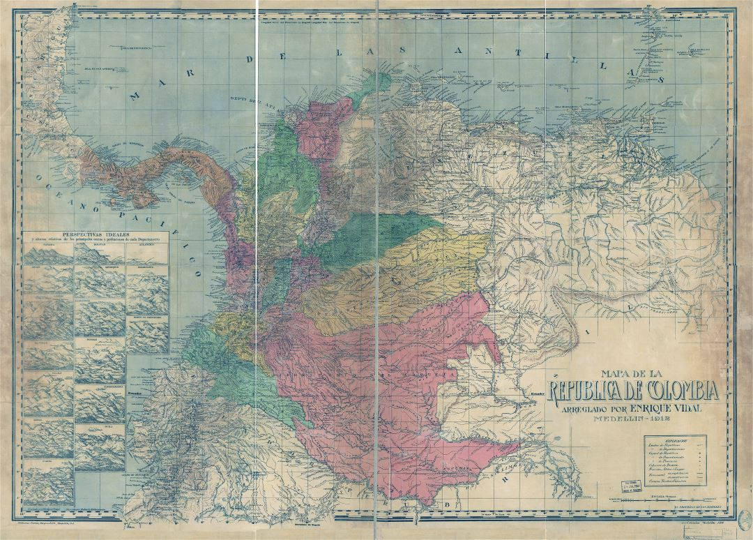 Large scale detailed old map of Colombia with relief and other marks - 1912