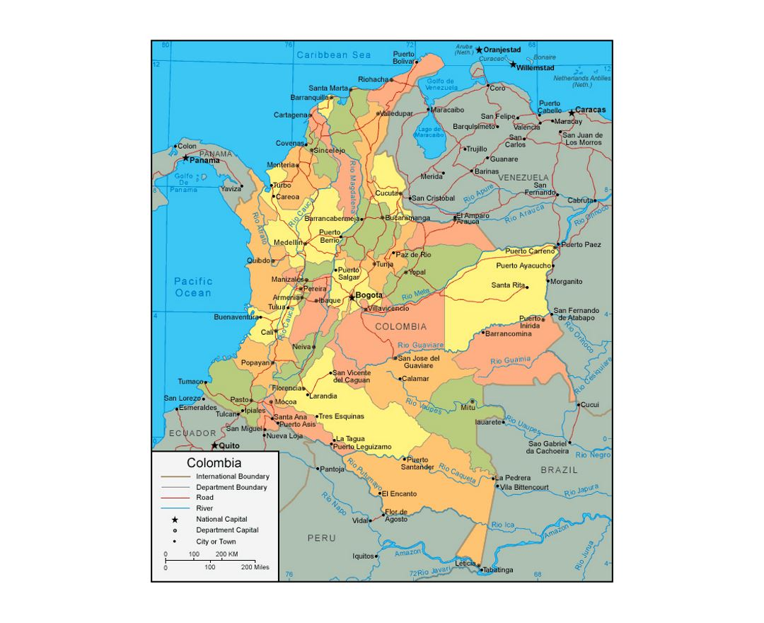 Political and administrative map of Colombia with roads and major cities