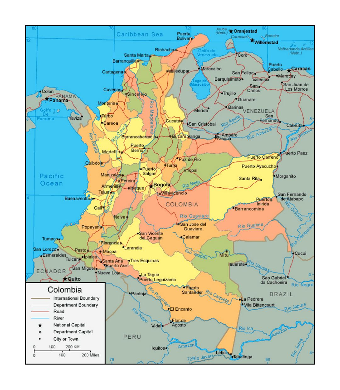 Political and administrative map of Colombia with roads and major