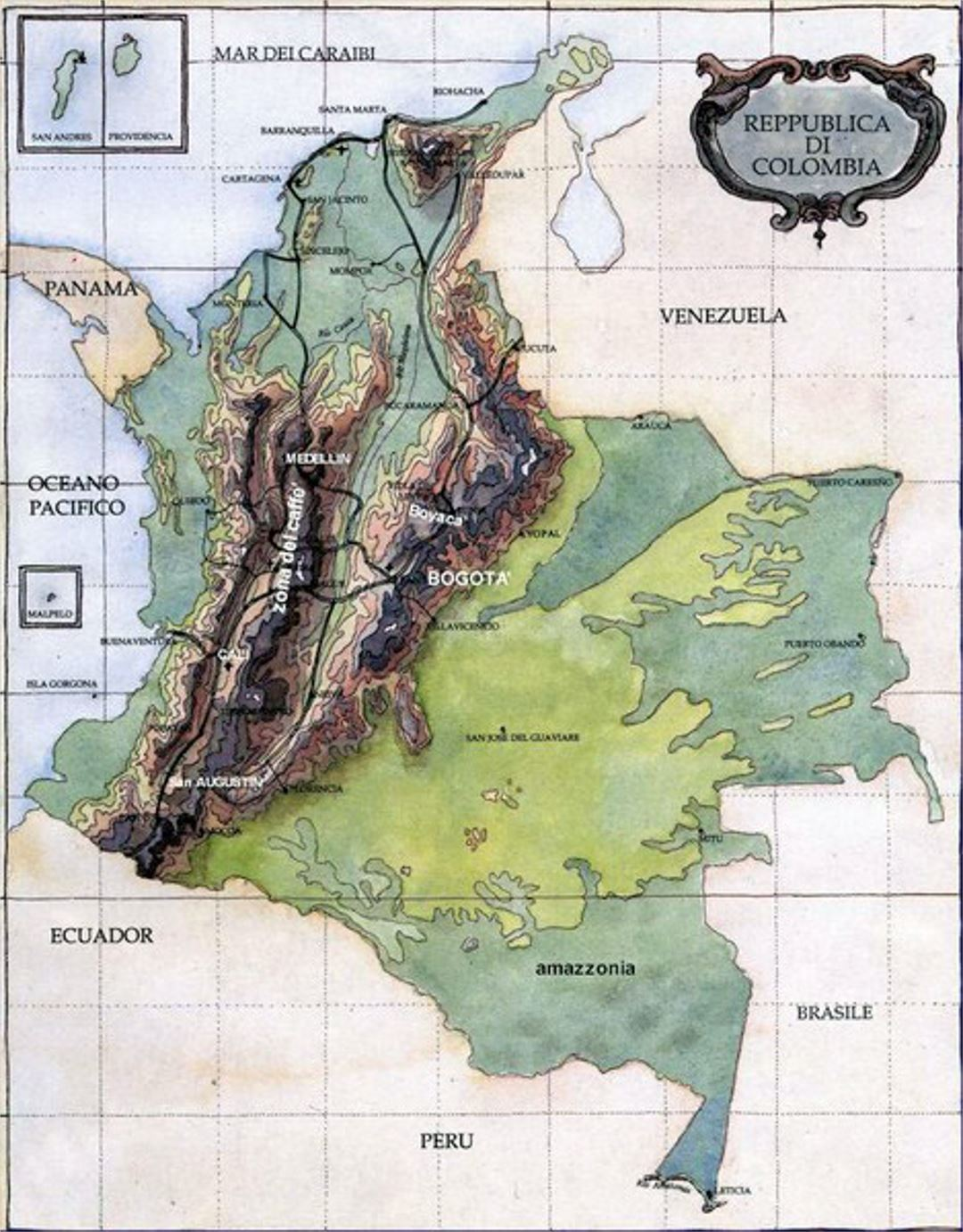 Terrain map of Colombia