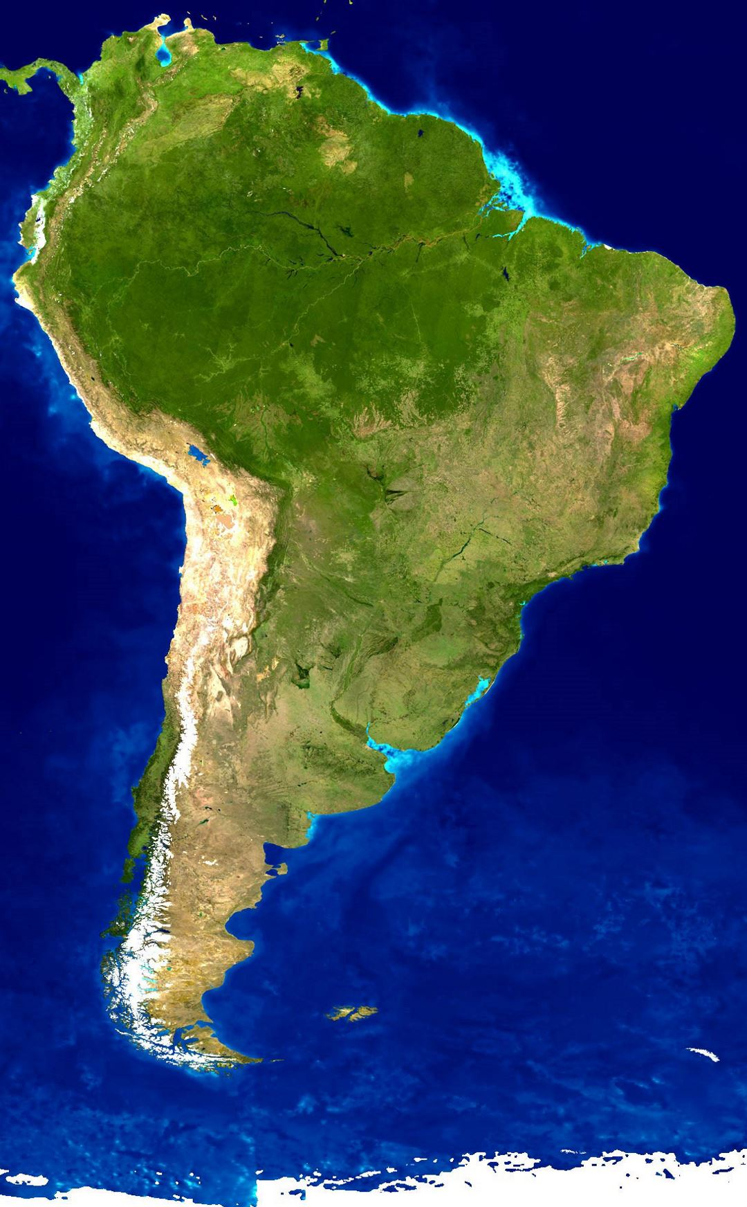 Detailed satellite map of South America