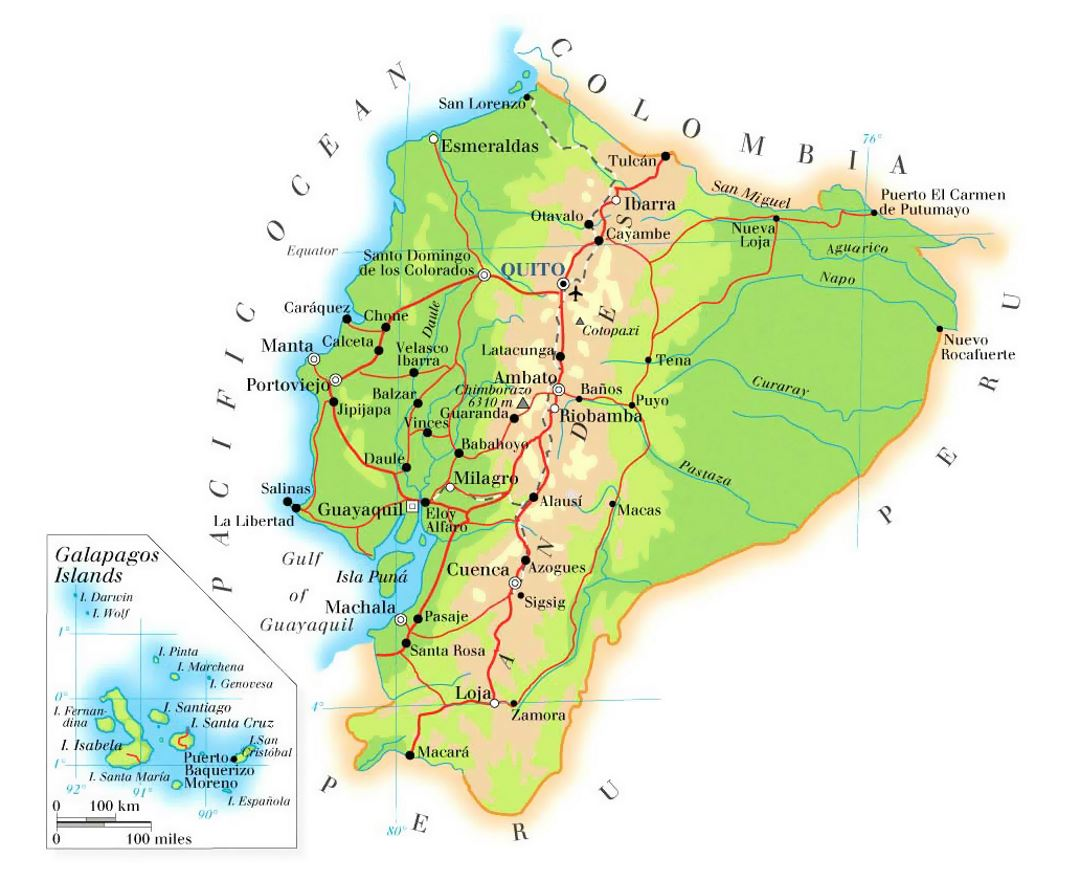 Detailed physical map of Ecuador with roads, cities and airports