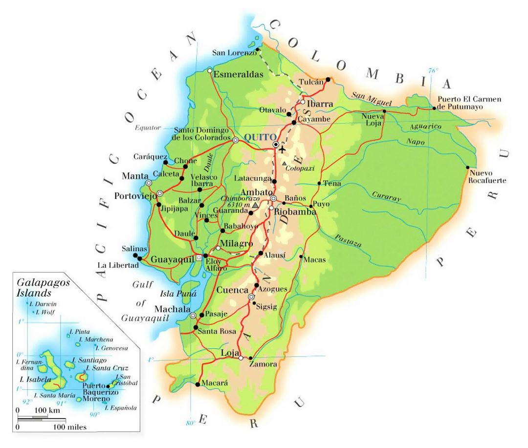 Cities Map Of Ecuador on