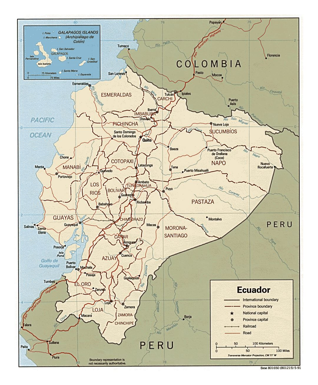 Detailed political and administrative map of Ecuador with major roads and major cities - 1991