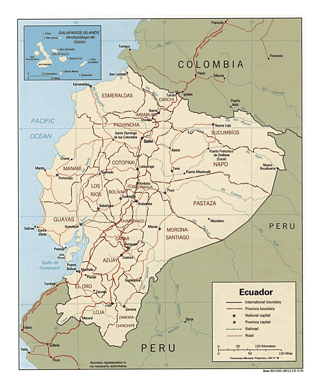 Detailed political and administrative map of Ecuador with major