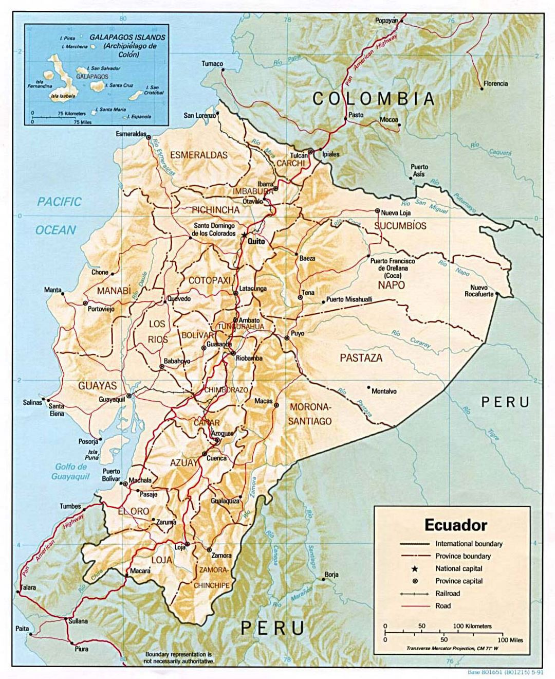 Detailed political and administrative map of Ecuador with relief, major roads and major cities - 1991