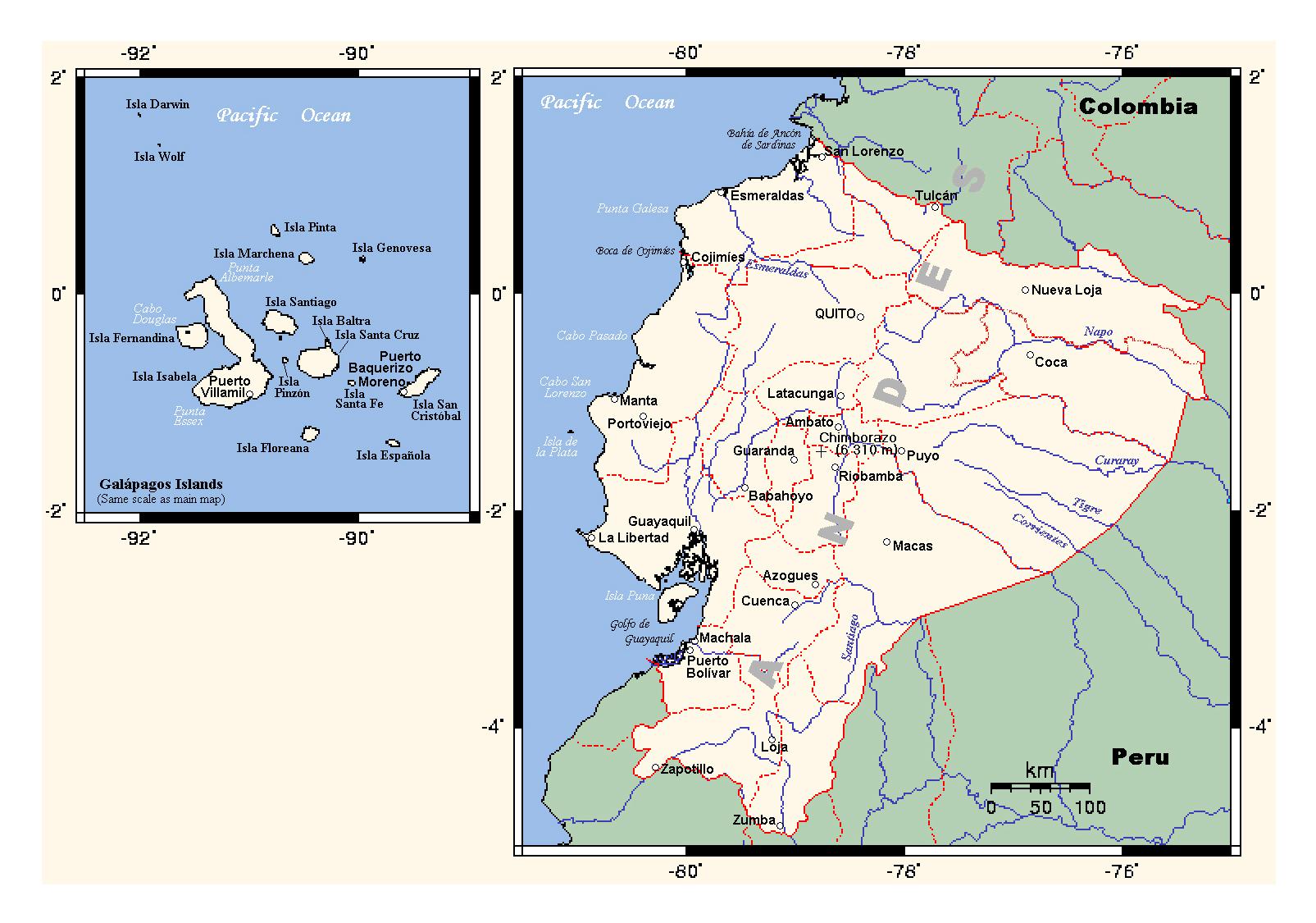 Detailed Political Map Of Ecuador Ecuador South America