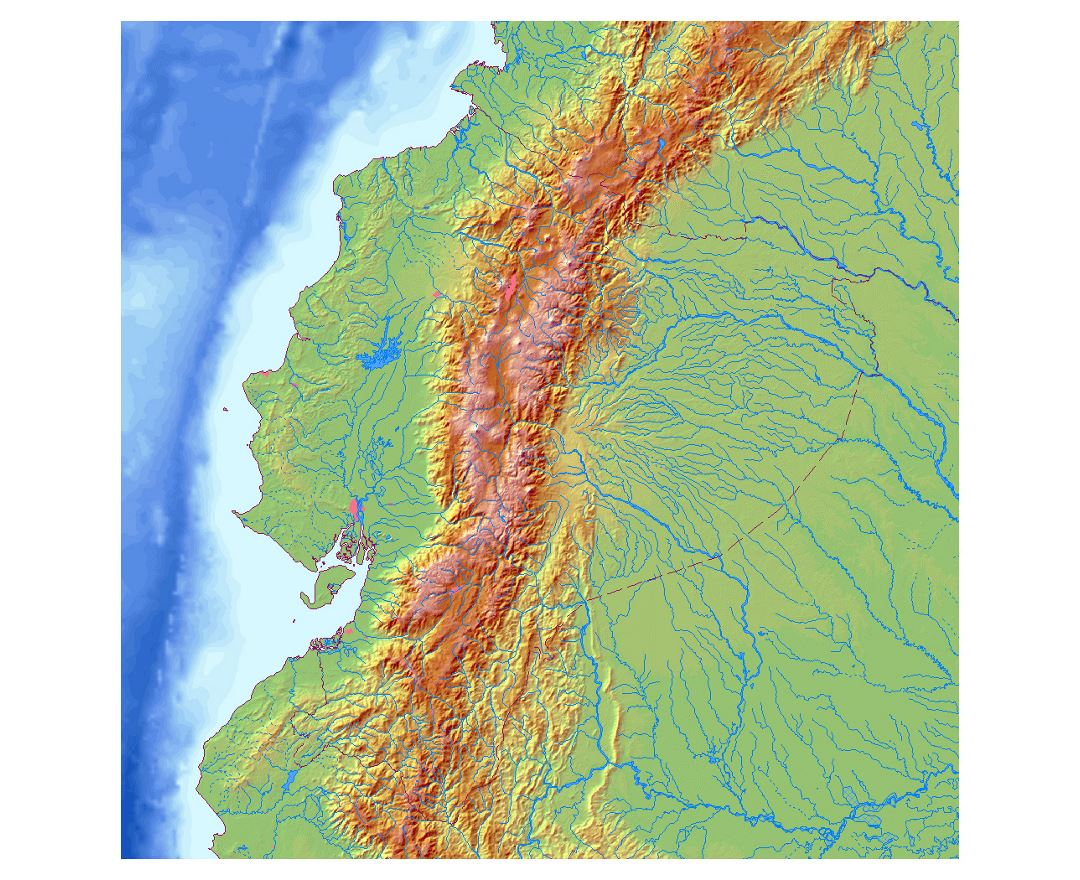 Detailed relief map of Ecuador