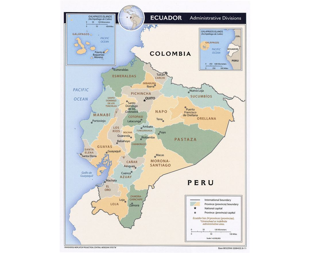 Large detailed administrative divisions map of Ecuador with major cities - 2011