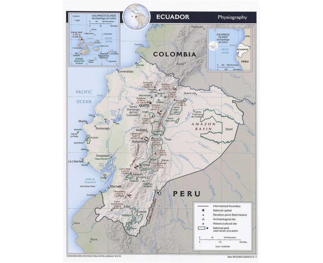 Large detailed physiography map of Ecuador - 2011
