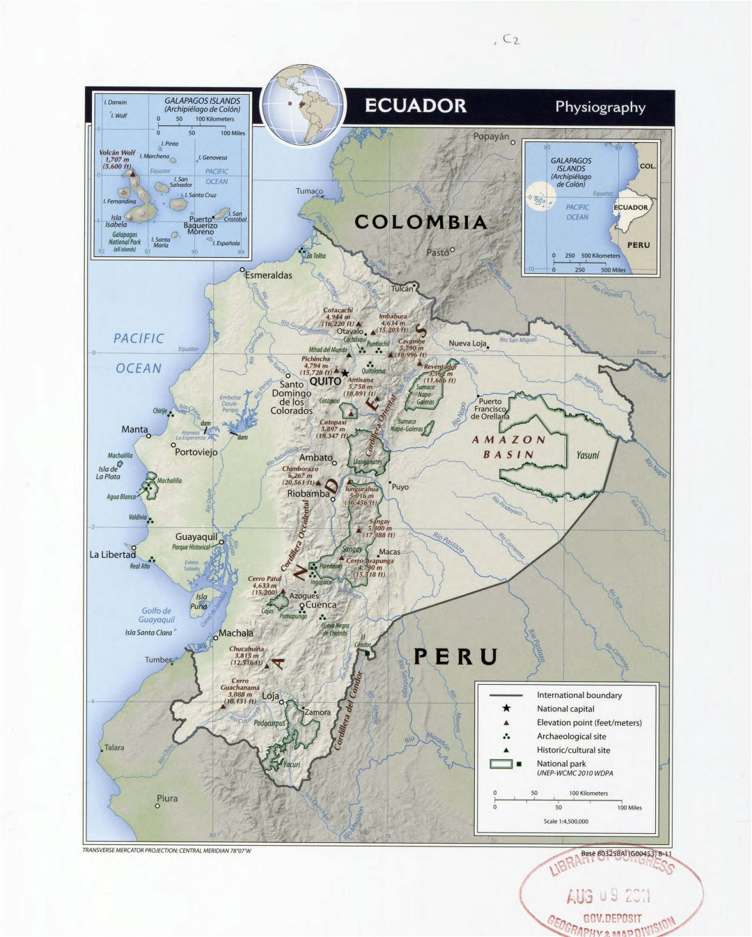 Large detailed physiography map of Ecuador with other marks - 2011
