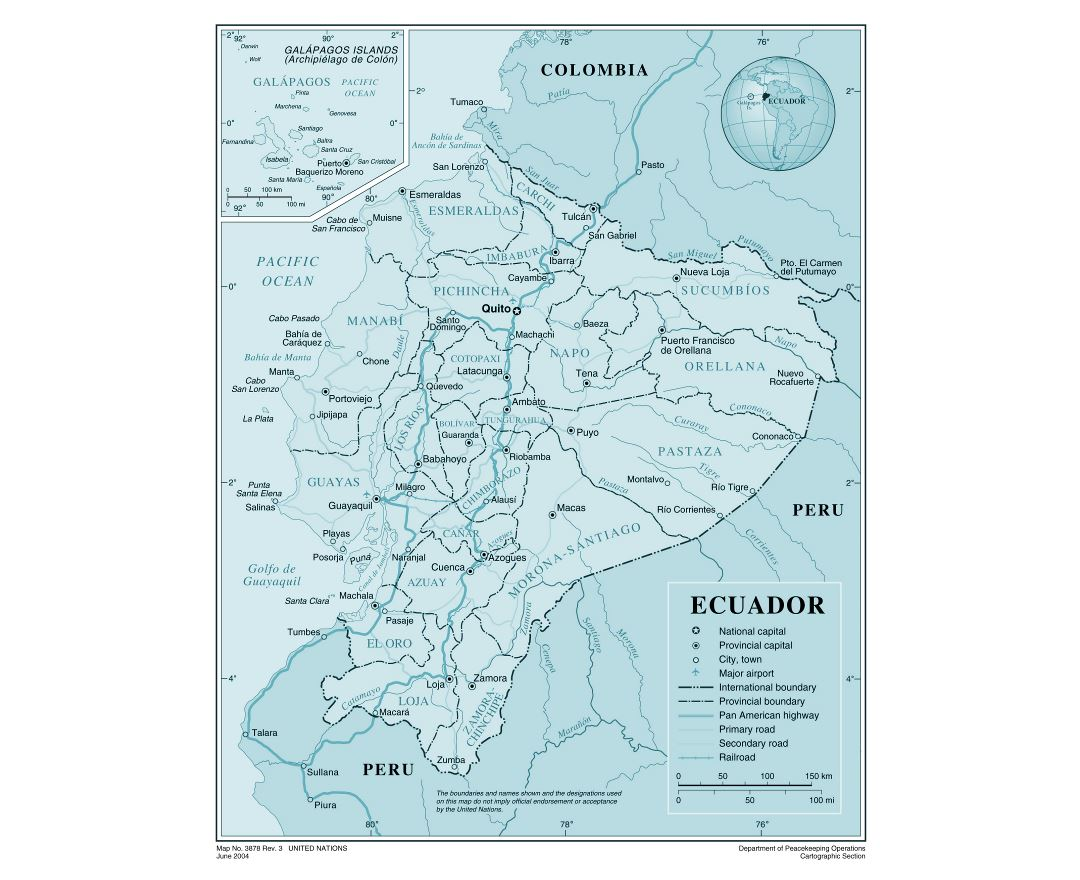 Large detailed political and administrative map of Ecuador