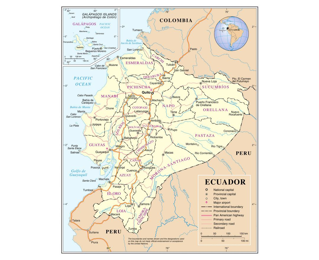 Large detailed political and administrative map of Ecuador with major roads, major cities and airports