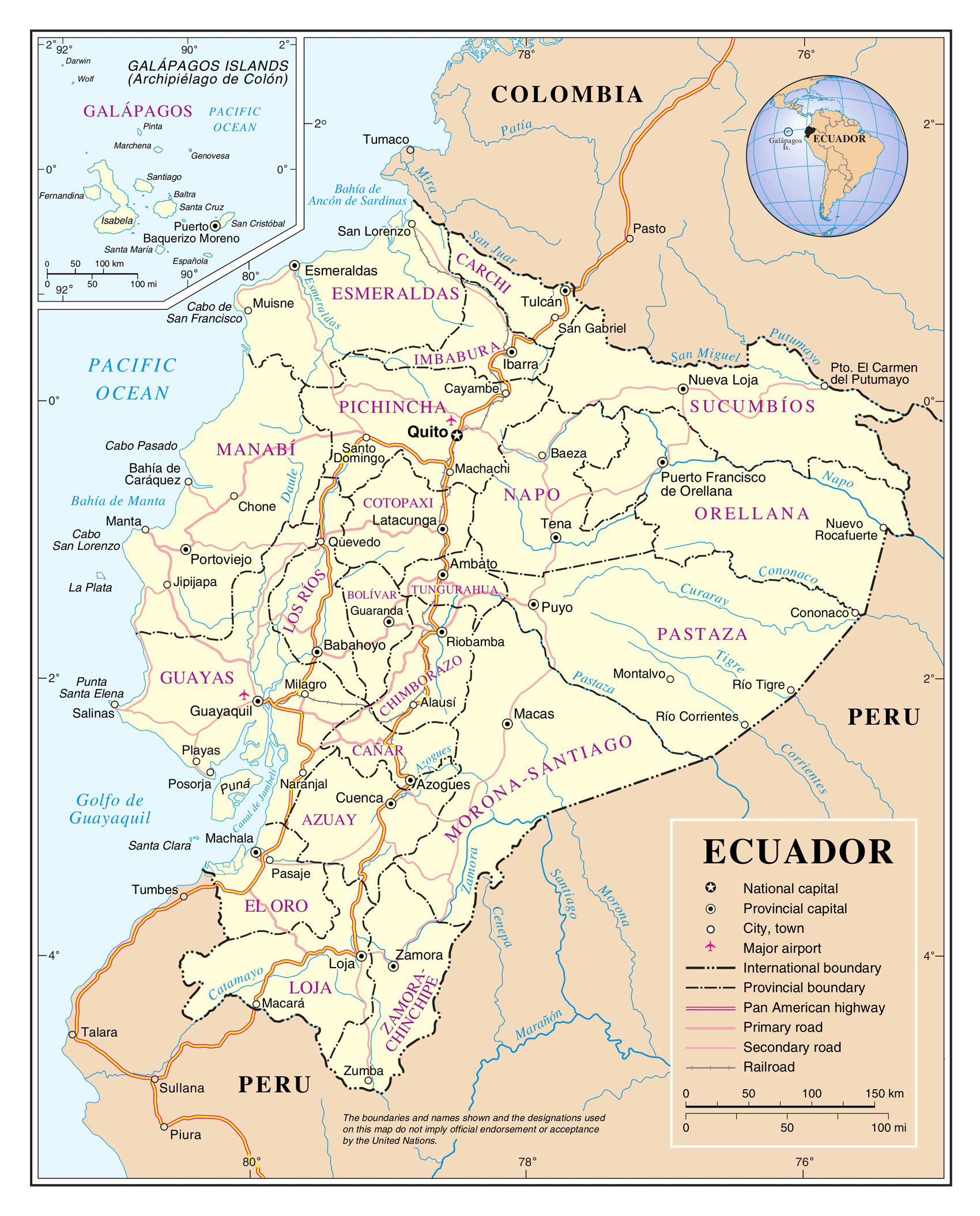 Large detailed political and administrative map of Ecuador with