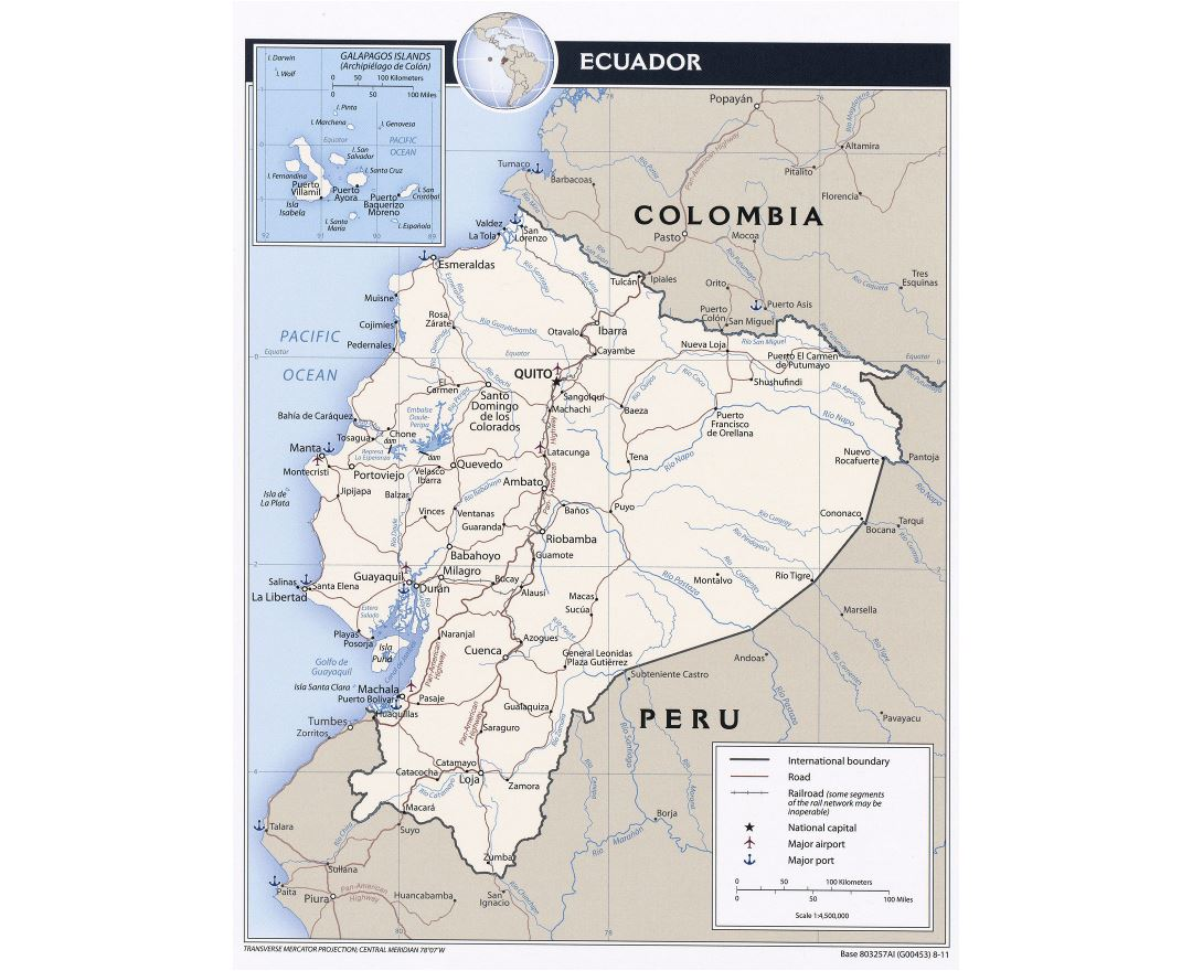 Maps of Ecuador Detailed map of Ecuador in English Tourist map