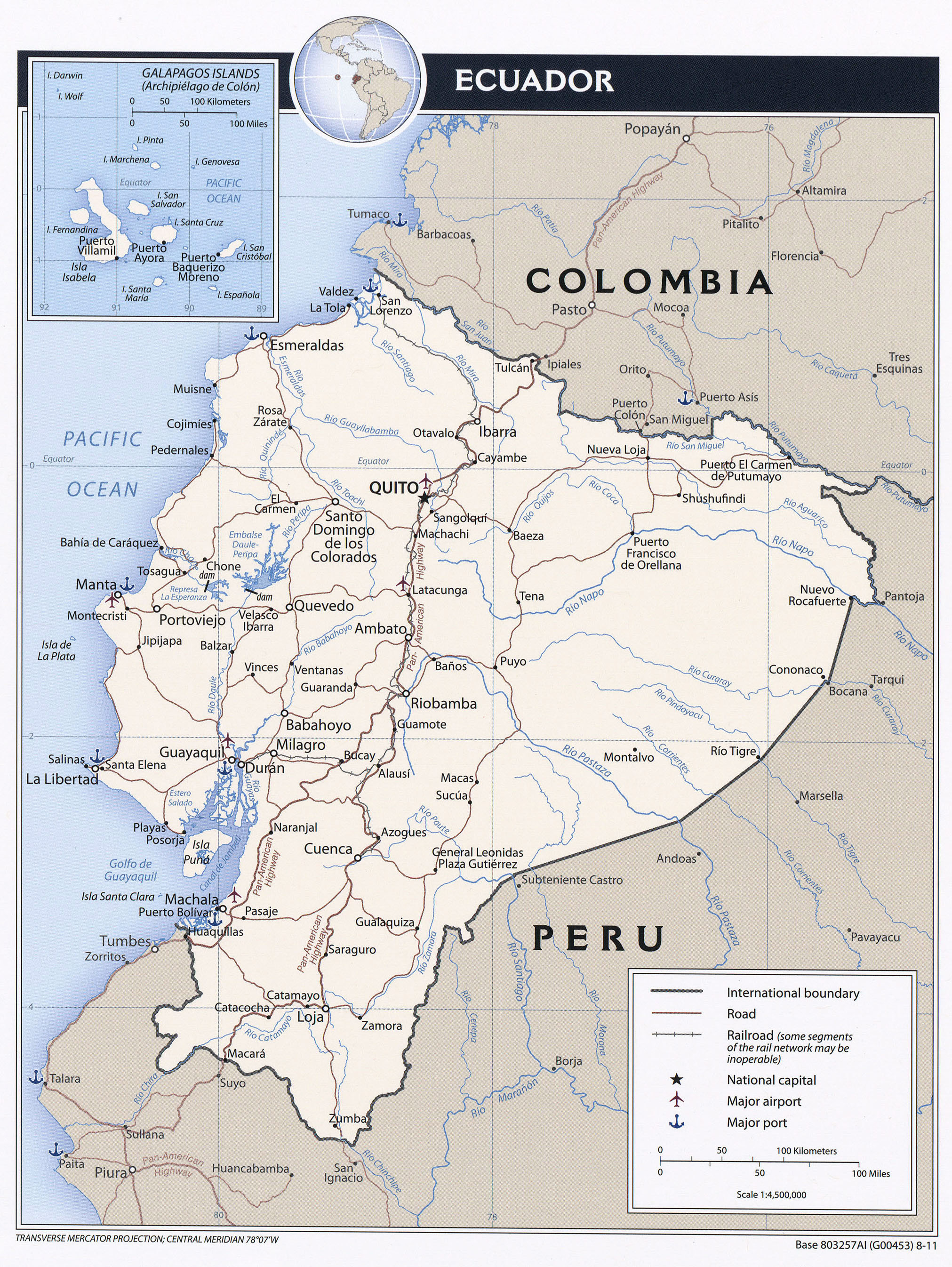 Large Detailed Political Map Of Ecuador With Roads Major Cities And Airports 2011