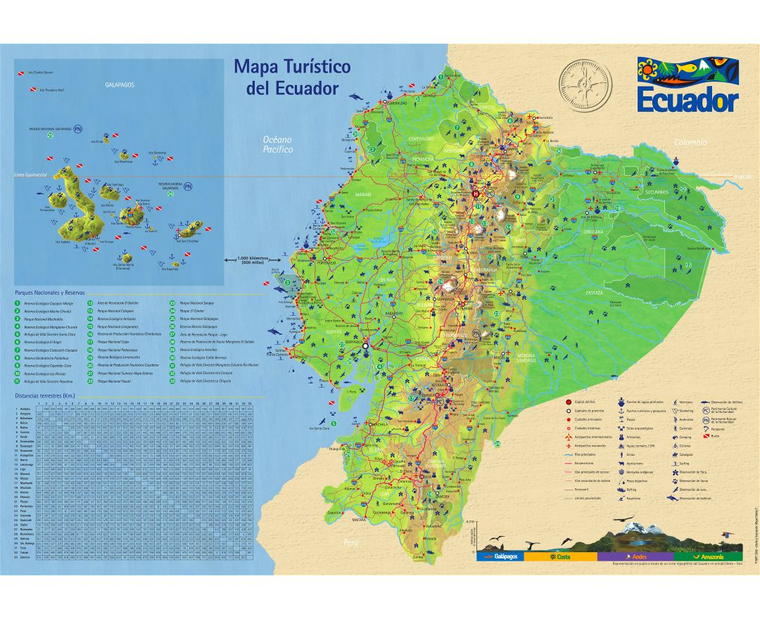Large detailed tourist map of Ecuador with roads