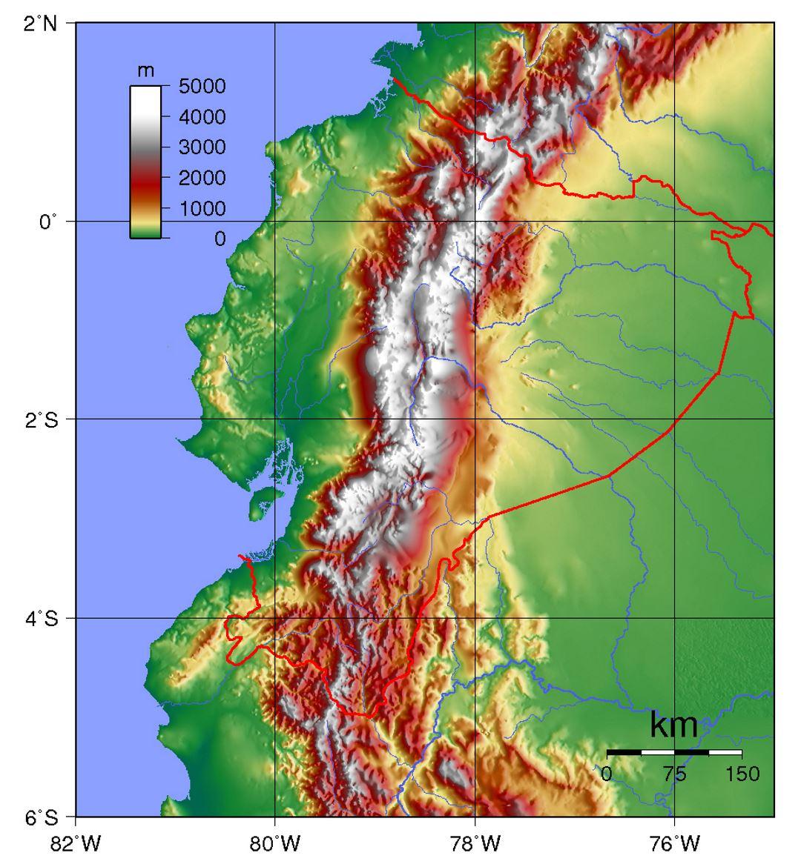 Large Physical Map Of Ecuador Ecuador South America Mapsland - Physical map of south america