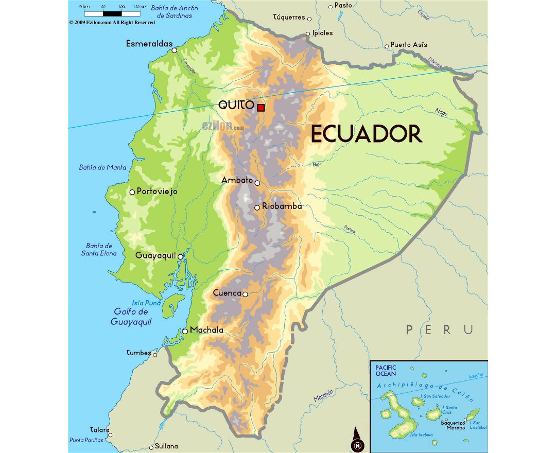 Large physical map of Ecuador with major cities