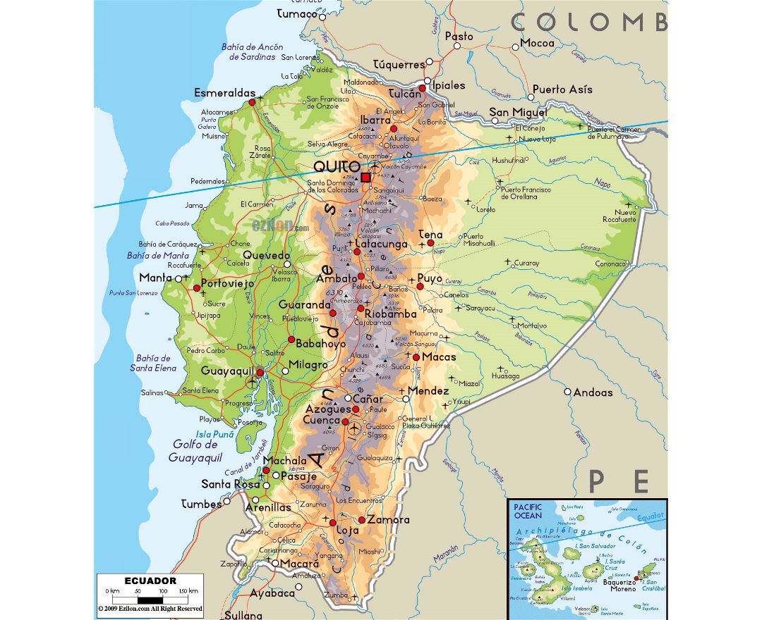 Large physical map of Ecuador with roads, cities and airports