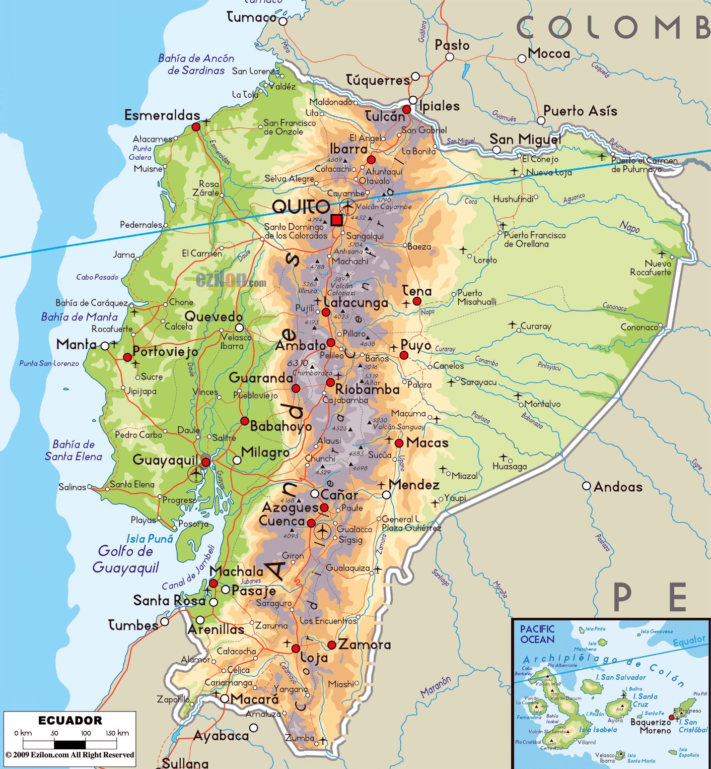 Large physical map of Ecuador with roads, cities and airports ... on