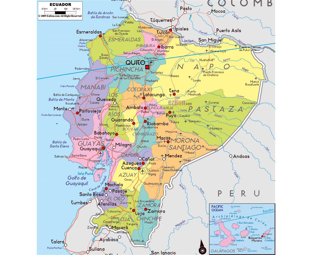 Large political and administrative map of Ecuador with roads, cities and airports