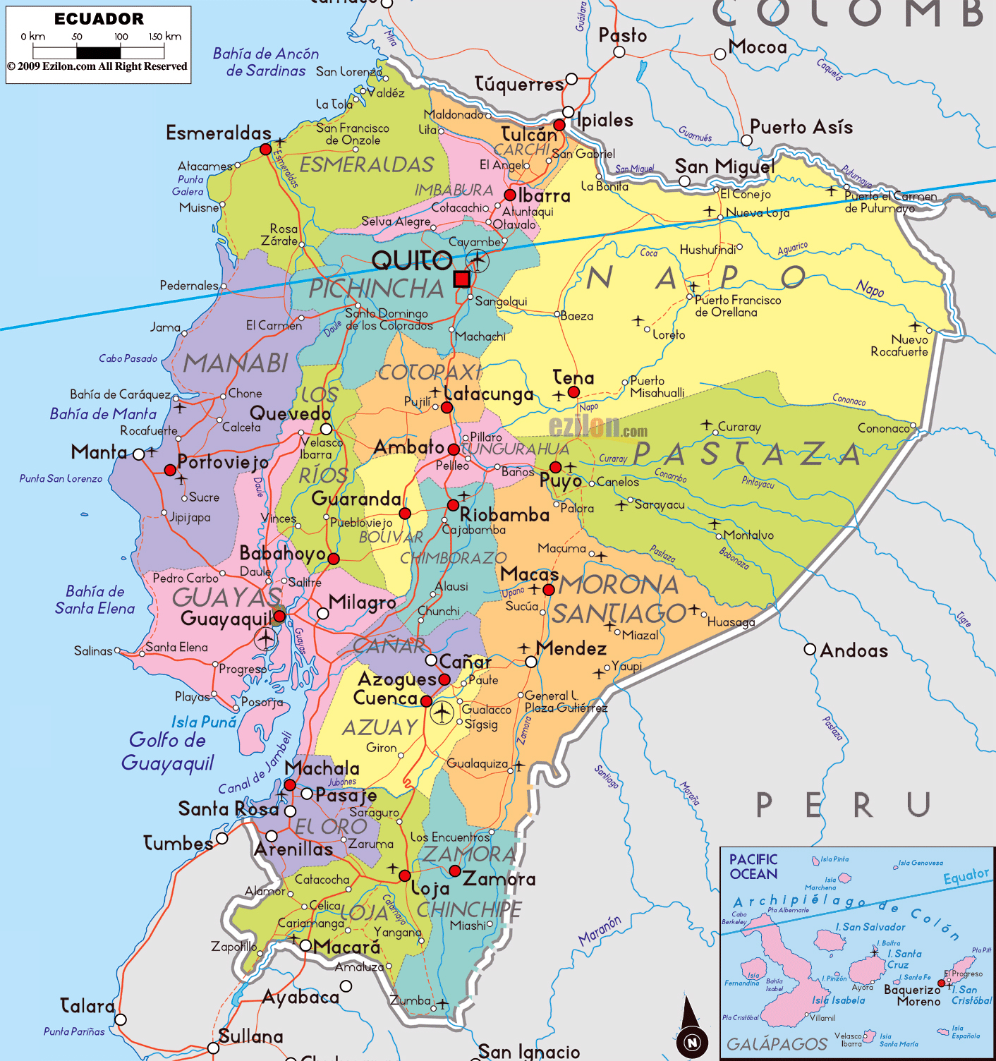 Large political and administrative map of Ecuador with roads cities