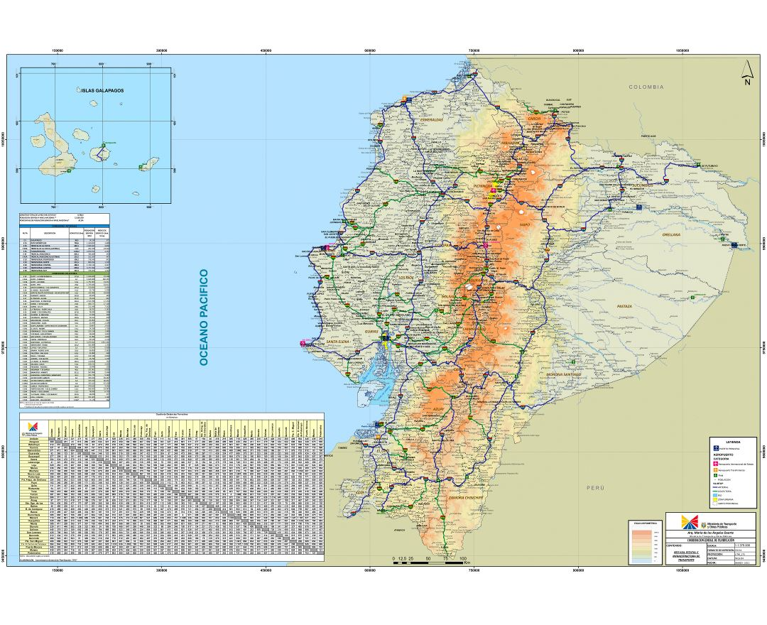 Large scale road map of Ecuador with all cities