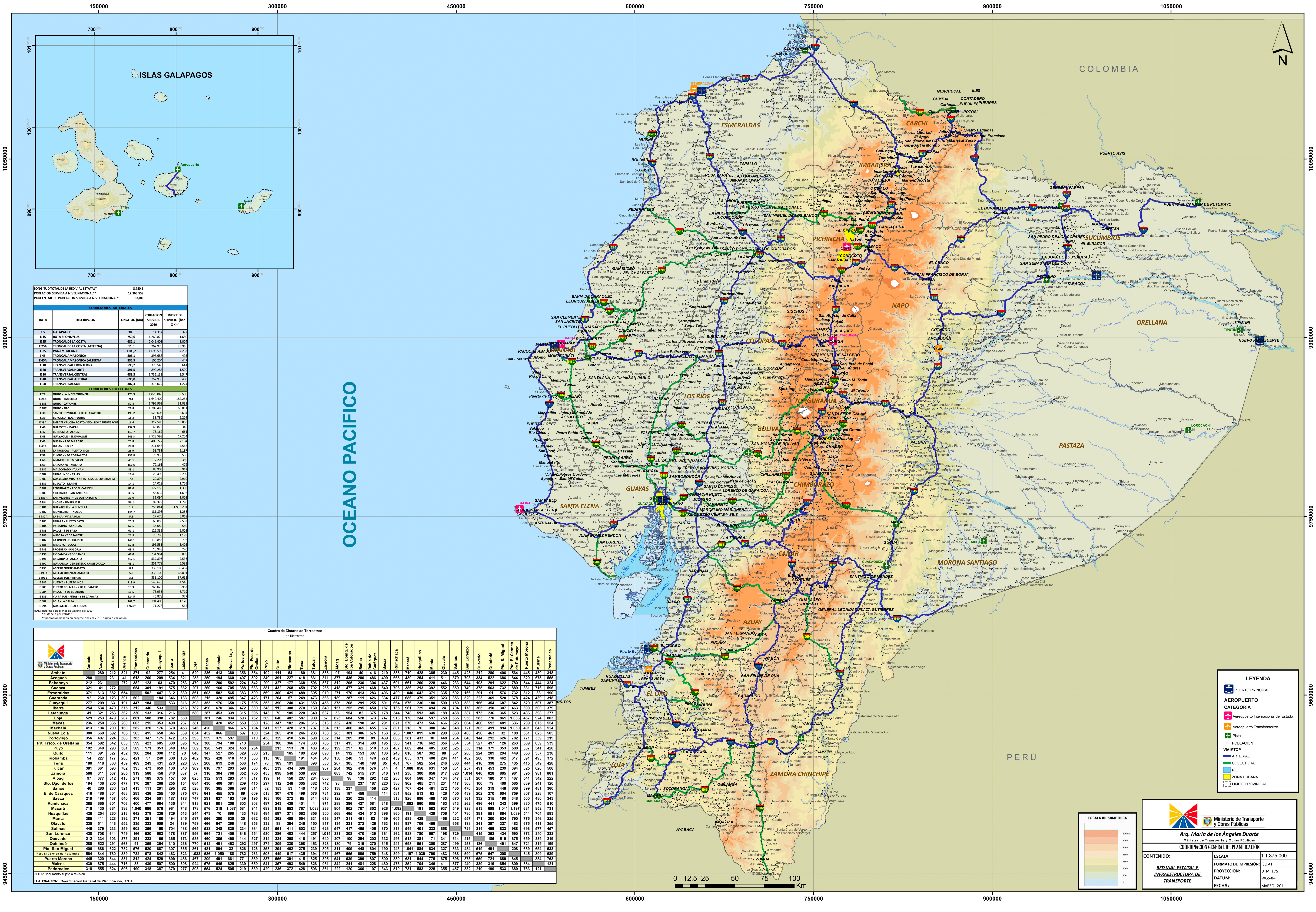 Large Scale Road Map Of Ecuador With All Cities Ecuador South - Map of ecuador south america