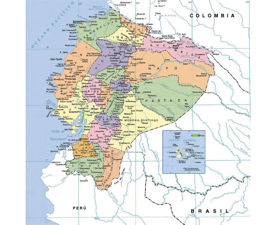 Political map of Ecuador with cities